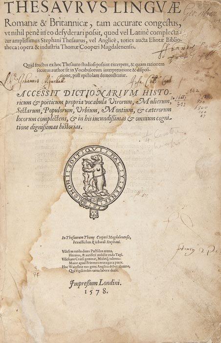 196: Cooper (Thomas) Thesaurus Linguae Romanae & Britan