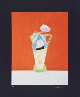 3: Craigie Aitchison (1926-2009) Still Life on Vermil