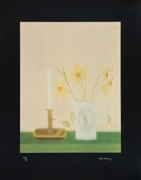 Craigie Aitchison (1926-2009) Daffodils And Candle