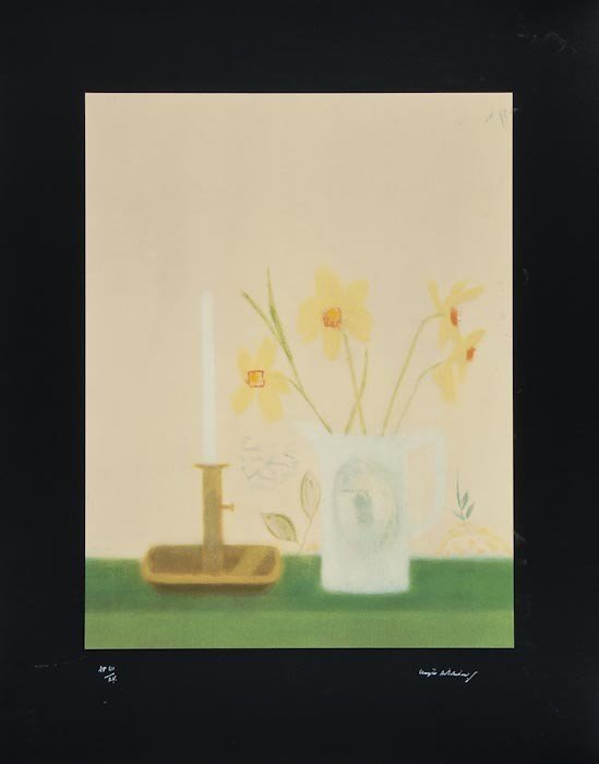 4: Craigie Aitchison (1926-2009) Daffodils and candle