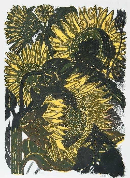 14: John Bratby (1928-1992) Sunflowers II