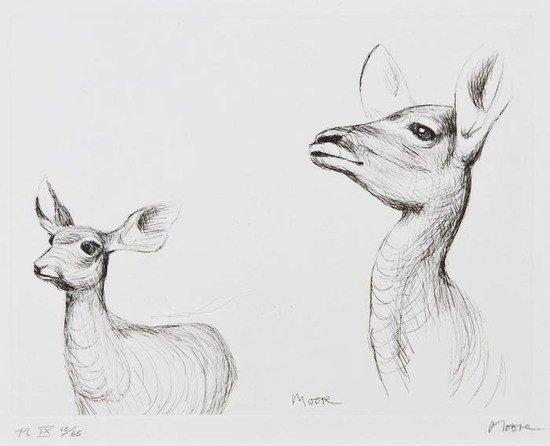 96: Henry Moore (1898-1986) Antelope (C.642)