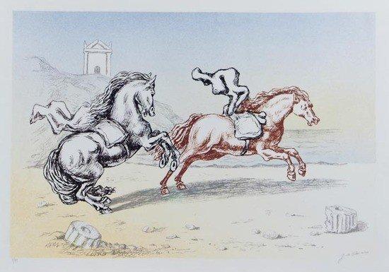 187: Giorgio de Chirico (1888-1978) Cavalli in riva al