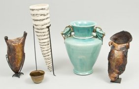 24: Romilly Graham A turquoise glazed vase with kneeli