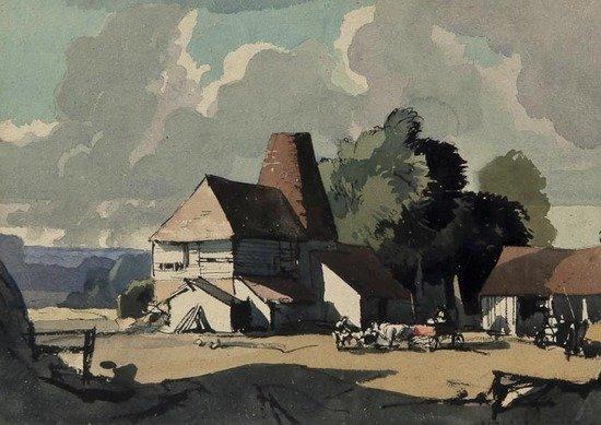 97: Rowland Hilder OBE PRI (1905-1993) Kentish Farmyar