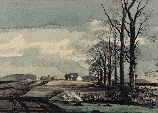 99: Rowland Hilder OBE PRI (1905-1993) A Farm in Kent