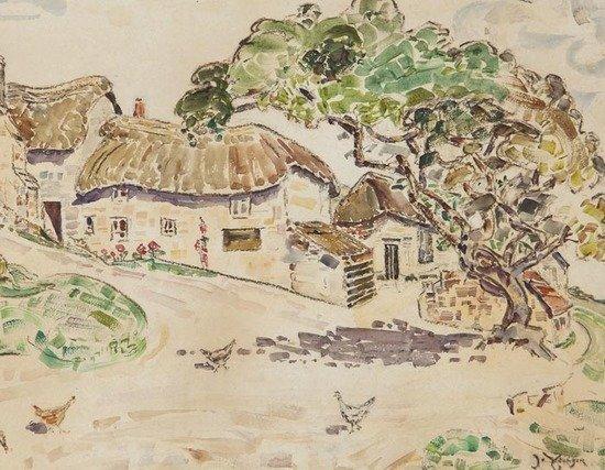 108: Jane Younger (1862-1955) Farm yard; Child by a bri