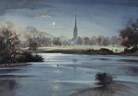 111: Rowland Hilder OBE PRI (1905-1993) Moonlight over