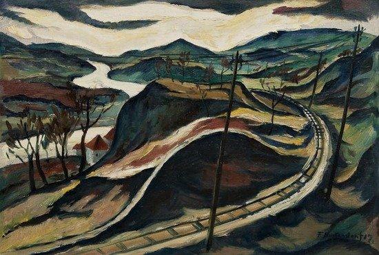 130: Franz Heckendorf (1888-1962) Landscape with railwa