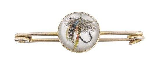 598: A Victorian reverse crystal intaglio bar brooch, t