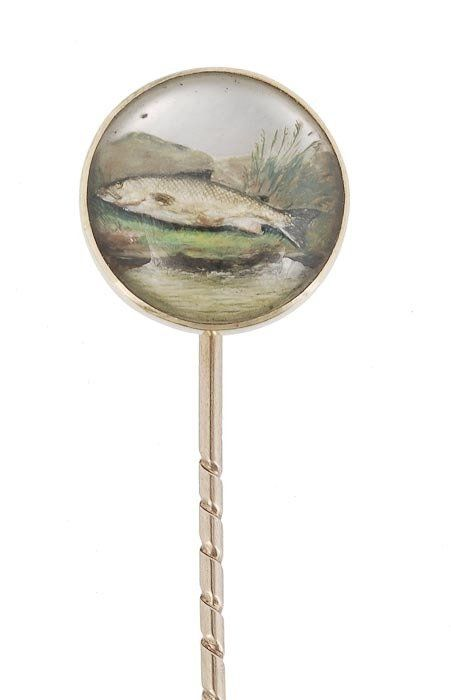 602: A Victorian reverse crystal intaglio stickpin, the