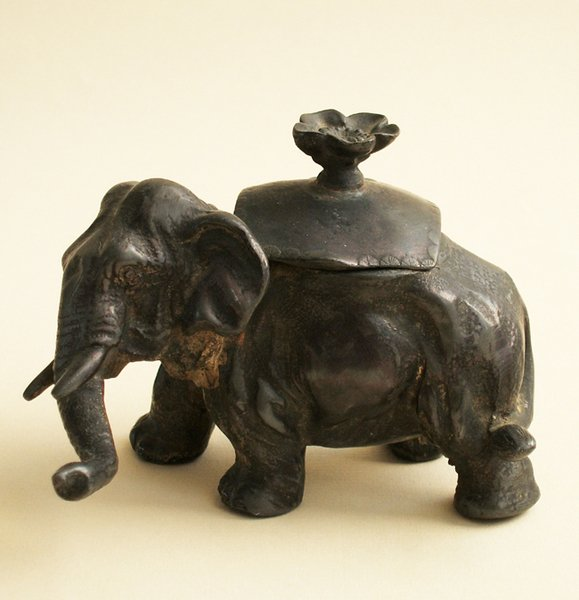 10A: NOVELTY ELEPHANT INKWELL, 1860s-70s