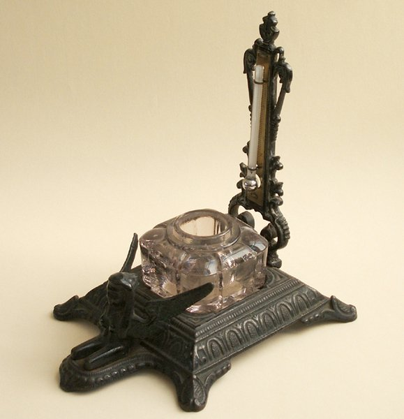 11A: CAST IRON PATENT INKSTAND WITH THERMOMETER