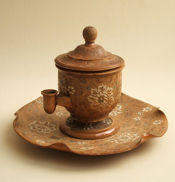 13A: DOULTON CHINÉ-WARE ISOBATH INKSTAND