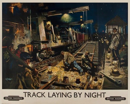 18: CUNEO, Terence TRACK LAYING BY NIGHT, British Rail