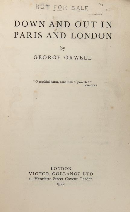 299: Orwell (George) Down and Out in Paris and London