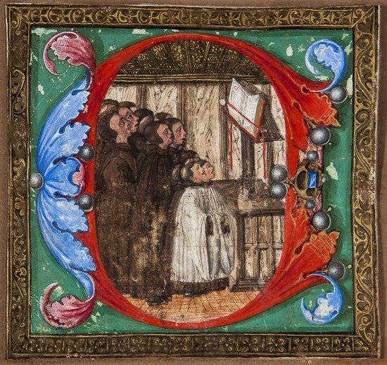 12: Illuminated manuscript miniature, initial C