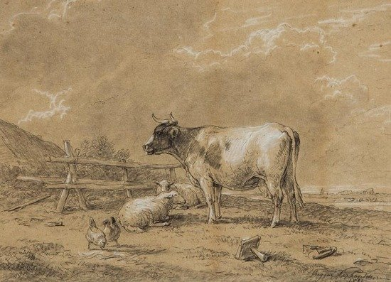 614: Eugene Verboeckhoven (1799-1881) A cow and sheep w