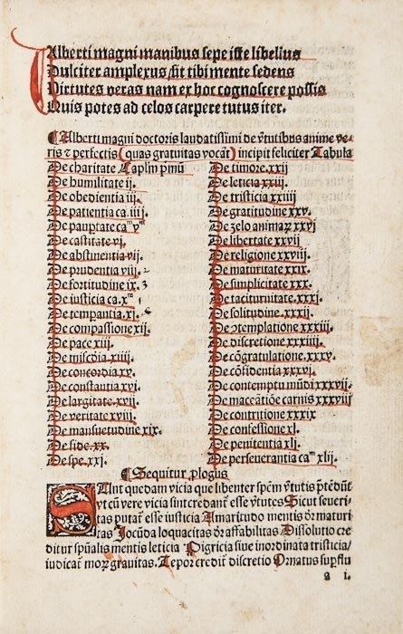 10: [Albertus Magnus.] De Virtutibus animae veris et p