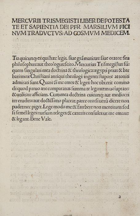 12: Hermes Trismegistus. De Potestate et Sapientia Dei