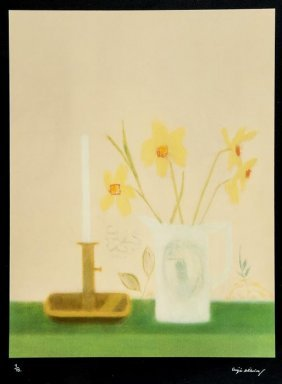 1: Craigie Aitchison (1926-2009) Daffodils and Candle