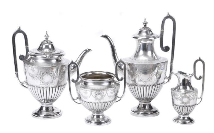 4: A late Victorian electro-plated four piece vase sh