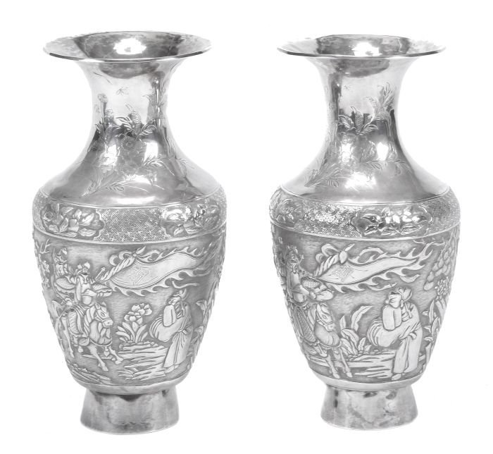 149: A pair of Chinese silver coloured baluster vases,