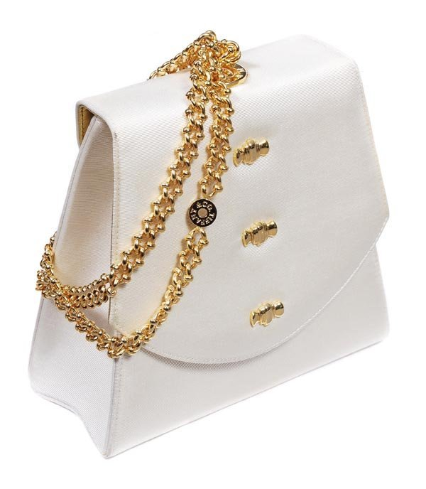 9: Tiffany & Co, a cream silk grossgrain evening bag