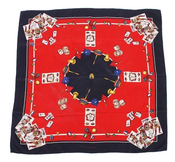 14: Karl Lagerfield, a silk scarf, of various gaming m