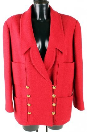 16: Chanel, Boutique, a raspberry wool boucle jacket,
