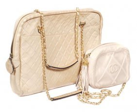 26: Chanel, a quilted cream leather clutch shape handb