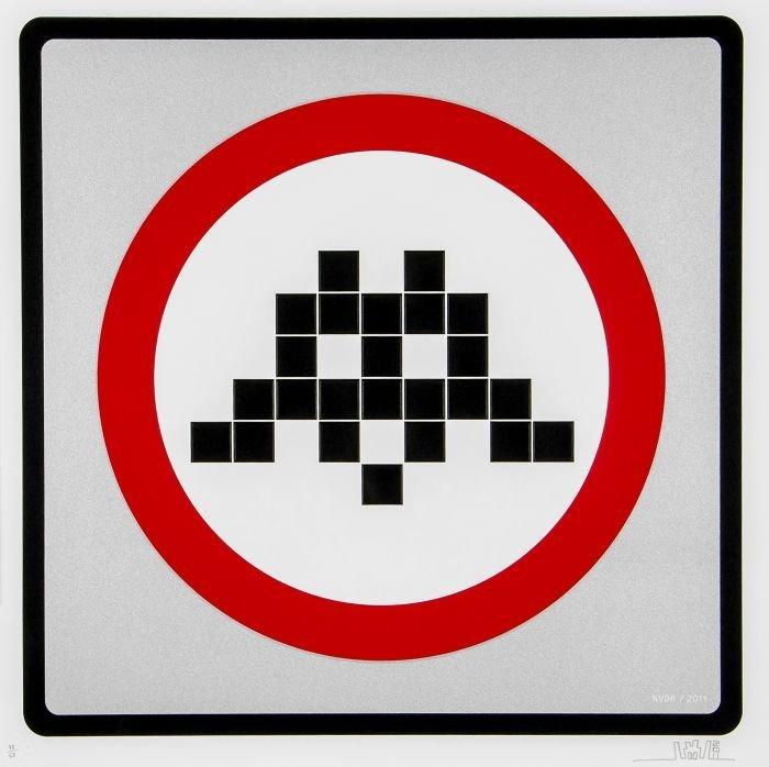 14: Invader (French, b.1969)  Warning Invader (Silver)