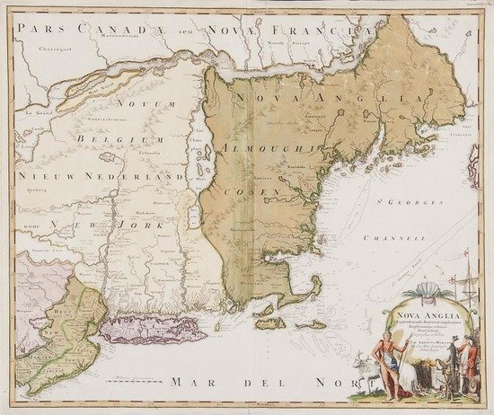 Homann (Johann Baptist) Nova Anglia Septentrionali