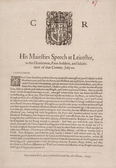 Civil War (Leicester).- Charles I,