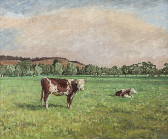 Sylvia Gosse (1881-1968) Cows grazing in a Meadow