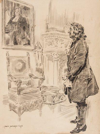 Flagg (James Montgomery) Man Contemplating Portrai