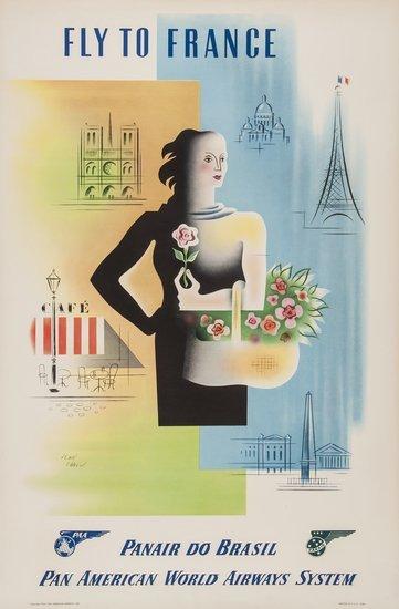 CARLU, Jean (1900-1997) FLY TO FRANCE, PAN AM