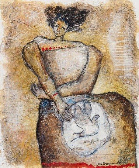 Yoël Benharrouche (b.1961) Oiseaux de Paix au Fond