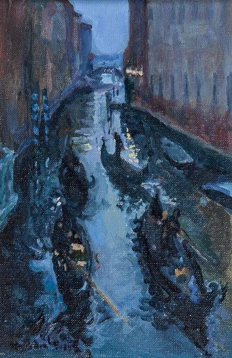 Sandra Pepys gondolas at night fall