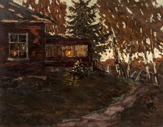 Russian School (20th century) Woodland hut at dusk