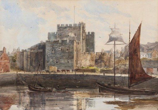 English School (late 19th century) Castle view wit
