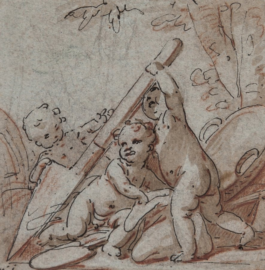 Italian School (17th Century) A seated putto; and