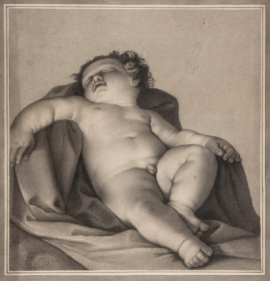After Guido Reni A sleeping putto