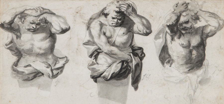 French School (18th Century) Studies for a statue