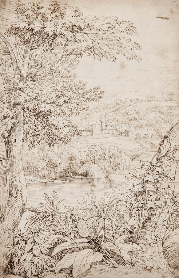 French School (18th Century) Landscape with villag