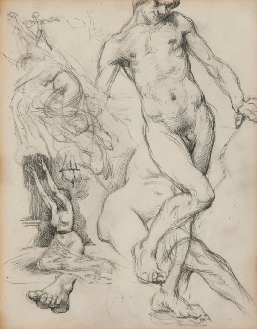 Sir William Orpen (1878-1931) Sheet of sketches, c