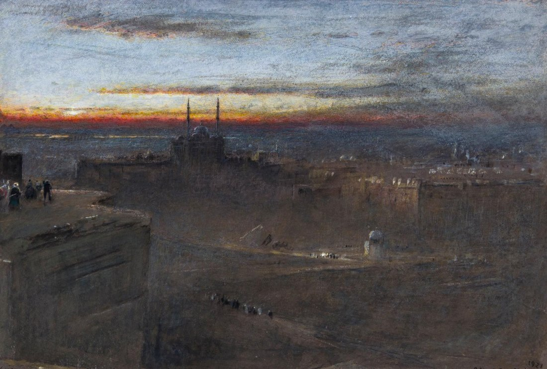 Egypt.- Albert Goodwin (1845-1932) - Sunrise, Cairo,