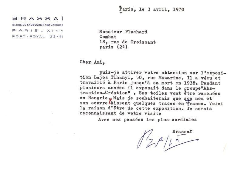 """TLS A 13.5 x 21cm typed letter on headed """"Brassai"""