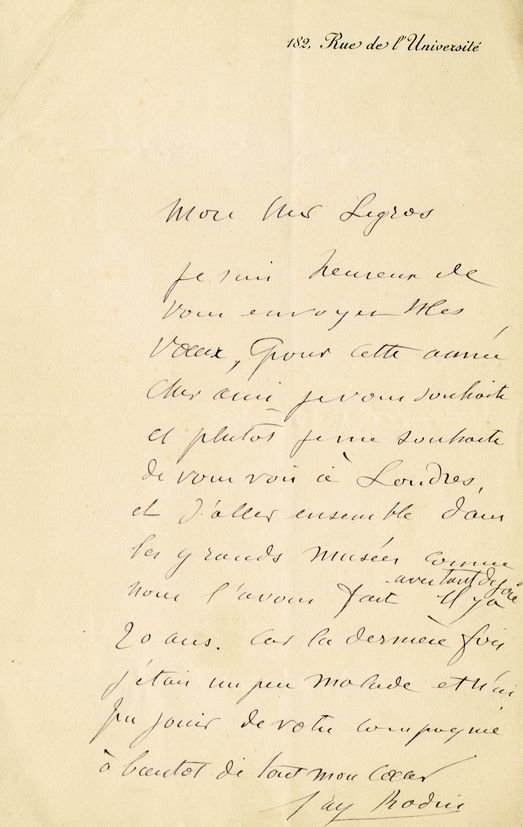 ALS A mounted 17 x 11cm letter, in French, written in