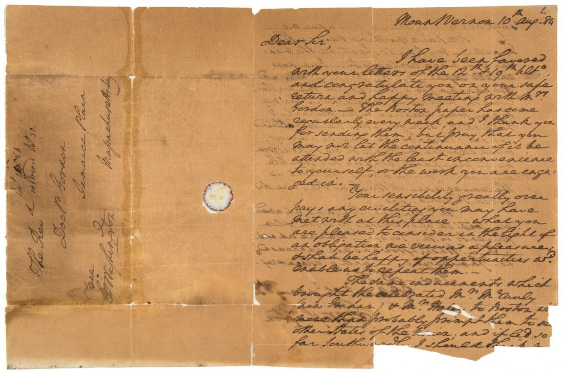 "Autograph Letter signed ""G Washington"" twice to the"